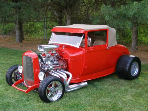 Incredible 1929 Ford Model A All Steel Coupe Street Rod with Stunning bright red paint job for sale